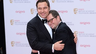 David Walliams and Alan Carr cuddle up on the red carpet