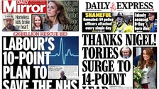 Tories up in the polls and Labour's NHS 'rescue plan' lead papers