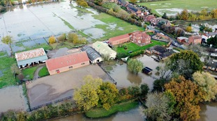 A view of the flood water at Fishlake, in Doncaster, South Yorkshire.