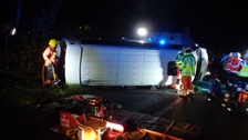 One person dead and 19 injured in minibus crash in Cambridgeshire
