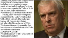 Prince Andrew and Epstein met 'in early 1990s' letter claims
