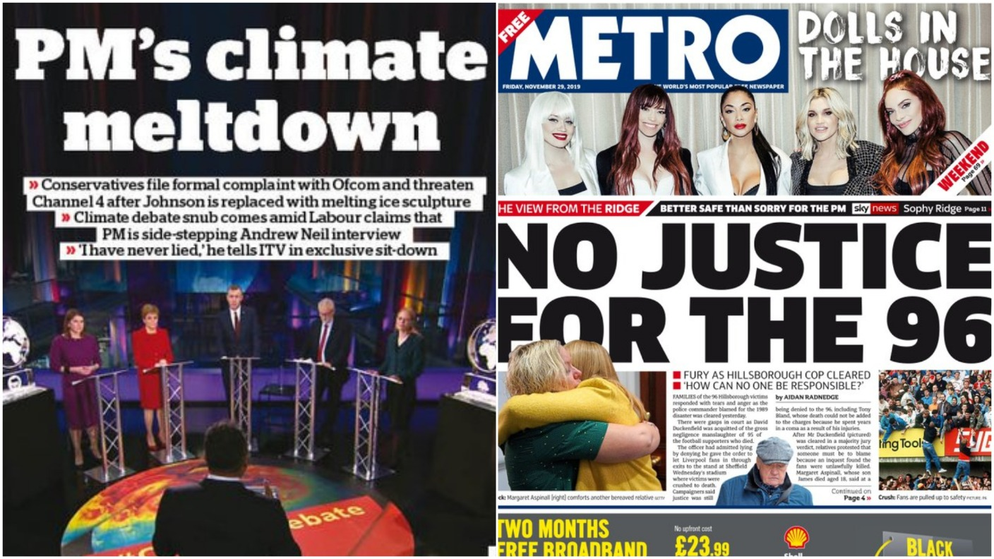 Channel 4 debate row and Hillsborough dominates front pages