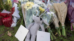 Flowers and stuffed animals have been left for the boy killed, named locally as Harley Watson.
