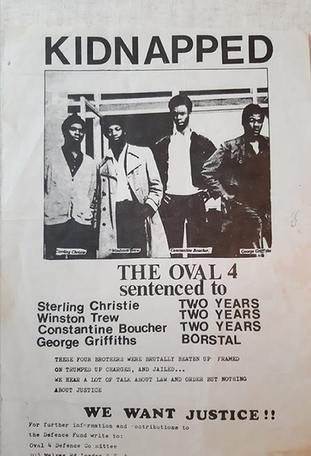 Undated handout photo of a poster calling for justice for the Oval Four
