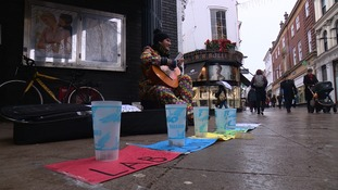 Peter Turrell carried out an election day poll while busking in Norwich city centre on Thursday