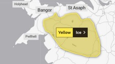 Yellow weather warning of ice issued for north Wales