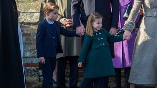 George and Charlotte join the Queen for first Christmas Day Church Service