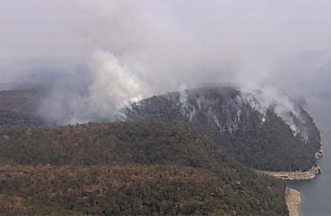 Smoke rises from wildfires in the Blue Mountains, New South Wales