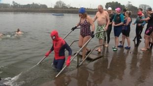 Hundreds take a New Year dip at Clevedon Marine Lake in Somerset