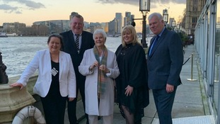 Cllr Jayne Aston, Cllr Sean Donnelly, Dame Judi Dench, Cllr Shelley Powell and Cllr Graham Morgan, Leader of Knowsley Council at the Shakespeare North Playhouse event in London.