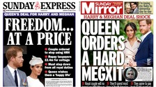 Sunday papers: 'Freedom at a price' as Queen agrees Sussex deal