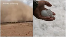 Australia hit by dust storms and hailstones as fires rage on