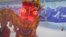 Chinese dragon goes skiing to celebrate the New Year