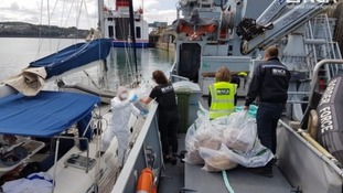 The boat was intercepted and brought into Fishguard port, where it was searched by officers