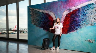Wings by Colette Miller in (Terminal 3). Colette Miller created the Global Angel Wings Project in 2012 on the streets of Los Angeles, the City of Angels. They were painted to remind humanity that we are the angels of this earth.