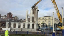 Fire ravaged hotel in Eastbourne pulled down