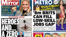 Papers react to UK floods and post-Brexit 'points' system