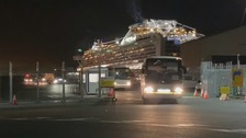 First buses carrying virus ship Britons leave for flight home
