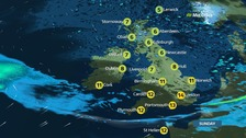 Damp Sunday ahead for UK with scattered showers