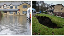 Street in Rochdale flooded after giant sinkhole appears in garden