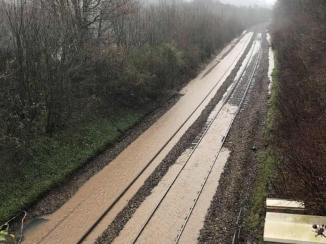 Railway line between Cardiff and Bridgend closed due to flooding