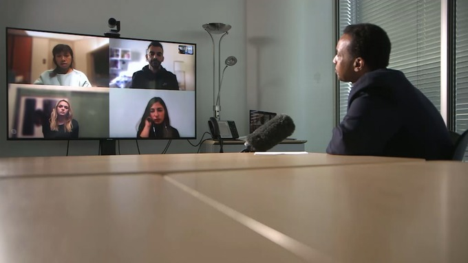 International Affairs Editor Rageh Omaar on a video call with people who are in a lockdown across the world.