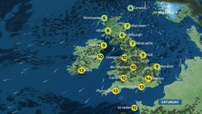 Weather: Sunny spells with showers in places