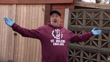 Johnny Vegas delivering food parcels to people in St Helens
