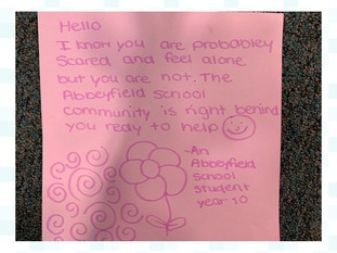 Letter from Abbeyfield School student