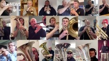 Stockport brass band give socially distant performance