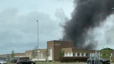 Huge plumes of smoke could be seen coming from the Mira testing centre in Hinckley.