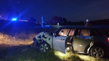 Lucky escape for passengers after car collides with electricity pole