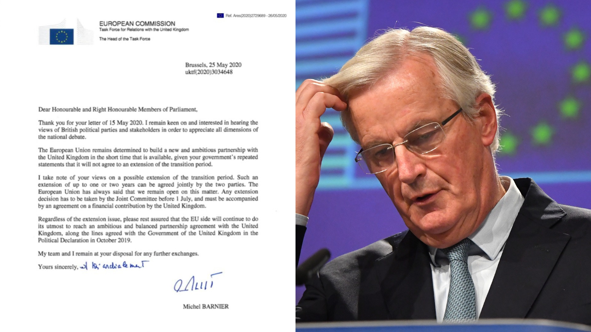 EU open to two-year Brexit extension, says Michel Barnier in response to letter from opposition MPs