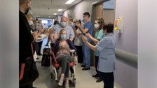 Nurse given guard of honour by workmates after she recovers from Covid-19