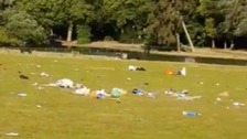 Litter seen dumped in parks after people gather to enjoy sunshine