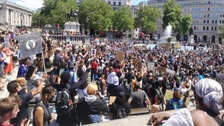 Hundreds gather in Trafalgar Square to show solidarity with US protesters following death of George Floyd