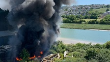 Cornwall fire crews tackle major blaze at Wadebridge boat yard