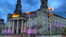 Buildings in Leeds light up purple to honour George Floyd