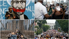 Tens of thousands protest across US on largest day of anti-racism demonstrations