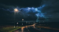 Lightning by East Midland airport