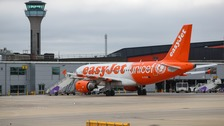 EasyJet planes at Luton Airport.