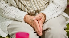 picture of elderly hands at a care home