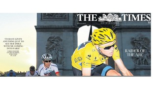 Chris Froome appears on the front page of almost all today's papers.