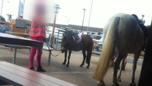 The horses pictured outside the McDonald's in Greater Manchester.