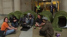 Protesters had camped out at Paternoster Square earlier today.