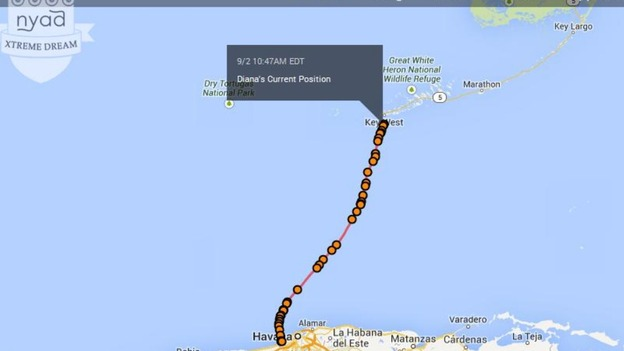 Cuba To Florida Map.Nyad Few Miles From Completing Cuba Florida Swim Itv News