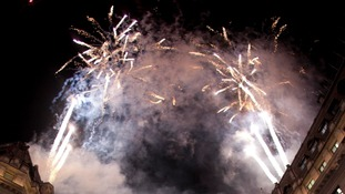 Christmas blast off:  Fireworks mark the switching on of the Regent Street lights tonight.
