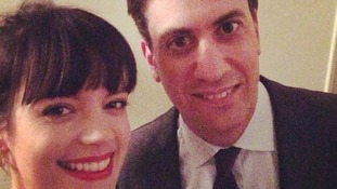 Lily Allen smiles with Ed Miliband in a 'selfie'.