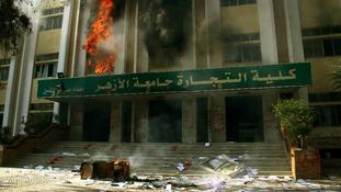 Fire burns inside the Faculty of Commerce building al-Azhar University in Cairo.