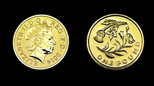 A £1 coin featuring an Scottish thistle.